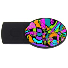 Abstract Art Squiggly Loops Multicolored Usb Flash Drive Oval (4 Gb) by EDDArt