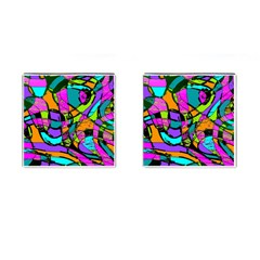 Abstract Art Squiggly Loops Multicolored Cufflinks (square) by EDDArt
