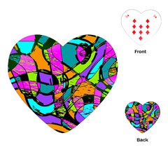 Abstract Art Squiggly Loops Multicolored Playing Cards (heart)  by EDDArt
