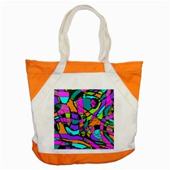 Abstract Art Squiggly Loops Multicolored Accent Tote Bag by EDDArt