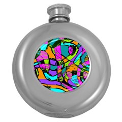 Abstract Art Squiggly Loops Multicolored Round Hip Flask (5 Oz)
