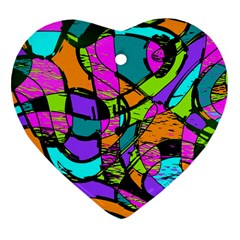 Abstract Art Squiggly Loops Multicolored Heart Ornament (two Sides) by EDDArt