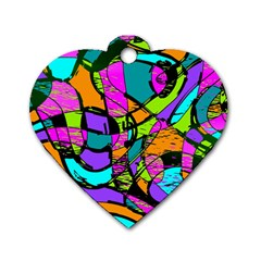 Abstract Art Squiggly Loops Multicolored Dog Tag Heart (one Side)