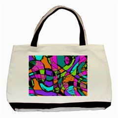 Abstract Art Squiggly Loops Multicolored Basic Tote Bag (two Sides) by EDDArt