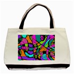 Abstract Art Squiggly Loops Multicolored Basic Tote Bag (Two Sides) Front