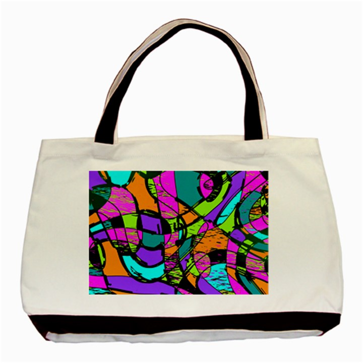 Abstract Art Squiggly Loops Multicolored Basic Tote Bag (Two Sides)