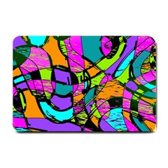 Abstract Art Squiggly Loops Multicolored Small Doormat  by EDDArt