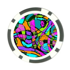 Abstract Art Squiggly Loops Multicolored Poker Chip Card Guard