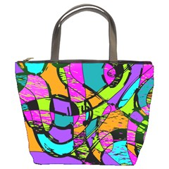 Abstract Art Squiggly Loops Multicolored Bucket Bags