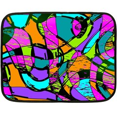 Abstract Art Squiggly Loops Multicolored Fleece Blanket (mini) by EDDArt