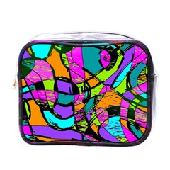 Abstract Art Squiggly Loops Multicolored Mini Toiletries Bags by EDDArt