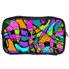 Abstract Art Squiggly Loops Multicolored Toiletries Bags 2 Side