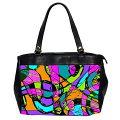 Abstract Art Squiggly Loops Multicolored Office Handbags (2 Sides)