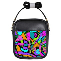 Abstract Art Squiggly Loops Multicolored Girls Sling Bags