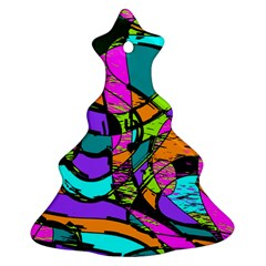 Abstract Art Squiggly Loops Multicolored Ornament (christmas Tree)  by EDDArt