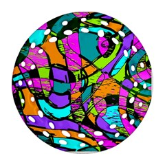 Abstract Art Squiggly Loops Multicolored Round Filigree Ornament (two Sides)