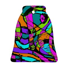 Abstract Art Squiggly Loops Multicolored Bell Ornament (two Sides) by EDDArt