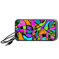 Abstract Art Squiggly Loops Multicolored Portable Speaker (black) by EDDArt