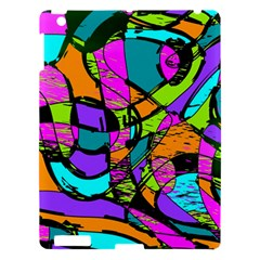 Abstract Art Squiggly Loops Multicolored Apple Ipad 3/4 Hardshell Case by EDDArt