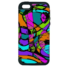Abstract Art Squiggly Loops Multicolored Apple Iphone 5 Hardshell Case (pc+silicone) by EDDArt