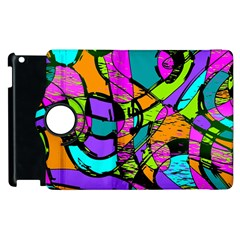 Abstract Art Squiggly Loops Multicolored Apple Ipad 2 Flip 360 Case by EDDArt
