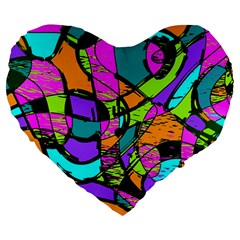 Abstract Art Squiggly Loops Multicolored Large 19  Premium Heart Shape Cushions by EDDArt