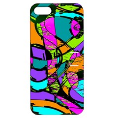 Abstract Art Squiggly Loops Multicolored Apple Iphone 5 Hardshell Case With Stand by EDDArt