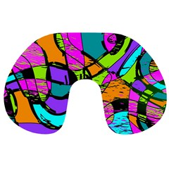 Abstract Art Squiggly Loops Multicolored Travel Neck Pillows by EDDArt
