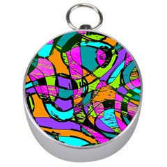 Abstract Art Squiggly Loops Multicolored Silver Compasses by EDDArt