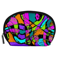 Abstract Art Squiggly Loops Multicolored Accessory Pouches (large)  by EDDArt