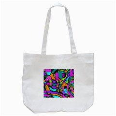 Abstract Art Squiggly Loops Multicolored Tote Bag (white) by EDDArt