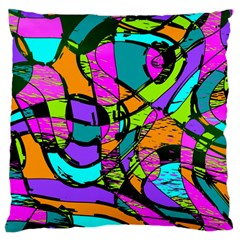 Abstract Art Squiggly Loops Multicolored Large Flano Cushion Case (one Side) by EDDArt