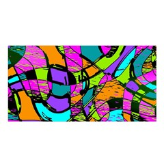 Abstract Art Squiggly Loops Multicolored Satin Shawl by EDDArt