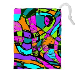 Abstract Art Squiggly Loops Multicolored Drawstring Pouches (xxl) by EDDArt