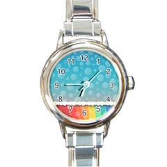 Rainbow Background Border Colorful Round Italian Charm Watch