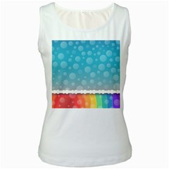Rainbow Background Border Colorful Women s White Tank Top