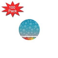 Rainbow Background Border Colorful 1  Mini Buttons (100 Pack)  by Amaryn4rt