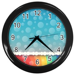 Rainbow Background Border Colorful Wall Clocks (black)