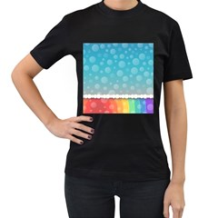 Rainbow Background Border Colorful Women s T Shirt (black) (two Sided)