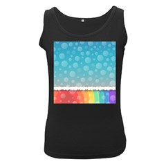 Rainbow Background Border Colorful Women s Black Tank Top