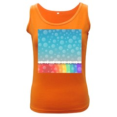 Rainbow Background Border Colorful Women s Dark Tank Top