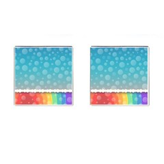 Rainbow Background Border Colorful Cufflinks (square)