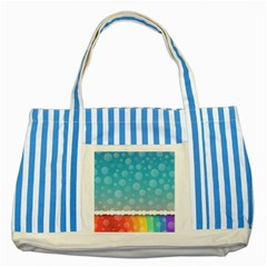 Rainbow Background Border Colorful Striped Blue Tote Bag