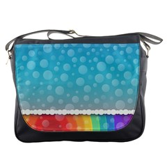 Rainbow Background Border Colorful Messenger Bags