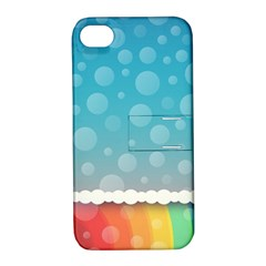 Rainbow Background Border Colorful Apple Iphone 4/4s Hardshell Case With Stand