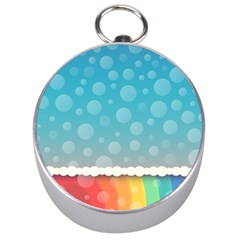 Rainbow Background Border Colorful Silver Compasses by Amaryn4rt