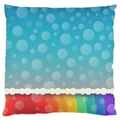 Rainbow Background Border Colorful Large Flano Cushion Case (one Side) by Amaryn4rt