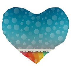 Rainbow Background Border Colorful Large 19  Premium Flano Heart Shape Cushions by Amaryn4rt