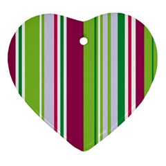 Beautiful Multi Colored Bright Stripes Pattern Wallpaper Background Ornament (heart) by Amaryn4rt