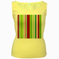 Beautiful Multi Colored Bright Stripes Pattern Wallpaper Background Women s Yellow Tank Top